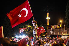 Turks in Istanbul march at The July 15 Martyrs Bridge