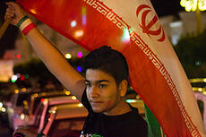 Celebration of the Iranian people after winning the Iranian soccer team against Morocco
