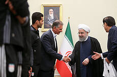 Iran national football team meets President Hassan Rouhani