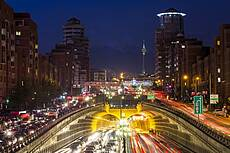 Tehran Tohid Tunnel and Milad Tower at night