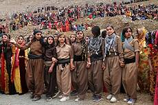 Kurdish girls dance in celebrating Nowruz