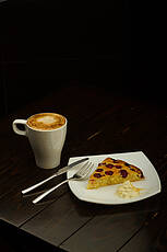 Latte with Sour Cherry pie