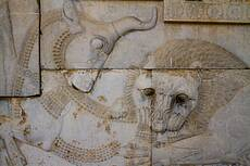 Bas-relief representing a symbol in Zoroastrianism for Nowruz at Persepolis